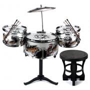 Deluxe Jazz Drummer Children's Kid Toy Musical Instrument Drum Playset w/ 5 Drums, Cymbal, Chair, Drumsticks