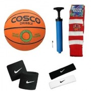 Cosco Dribble Basketball (Size-6) with Air Pump Head Band (2Pcs.) Free Pair of Wrist Band Soccer Socks