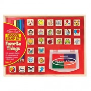 Melissa & Doug Wooden Stamp Set, Favourite Things - 26 Stamps, 4-Colour Pad