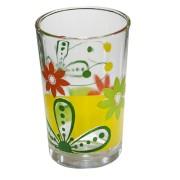 Set pahare 6 bucati cu decor flori verzi, bauturi racoritoare, 011138