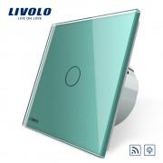 Intrerupator wireless cu variator cu touch Livolo din sticla, verde
