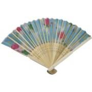 New Jaipur Handicraft Hukum Mere Aaka Foldable Floral Print Blue Hand Fan(Pack of 5)
