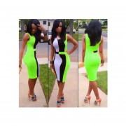 Vestido sin mangas de estilo sexy y americano de color en verde y negro