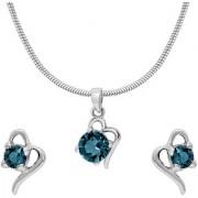 Mahi with Crystal Elements Light Blue Victorian Heart Rhodium Plated Pendant Set for Women NL1104141RLBlu