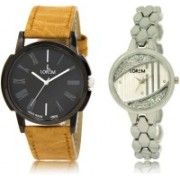 LOREM watch19-223 Designer Silver & Black Round Boy's & Girl's Metal Bracelet & Leather Watch - For Men & Women