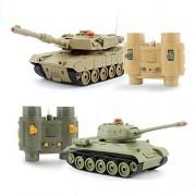 GizmoVine RC Fighting Battle Tank 1:32, Set of 2 Russian T-34 VS USA M1A2, Remote Control Battling Tank Toys for Kids, Boys Khaki VS Green