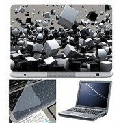 FineArts Laptop Skin 15.6 Inch With Key Guard & Screen Protector - 3D Cubes White & Black