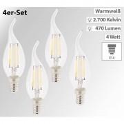 Luminea 4er-Set LED-Filament-Kerzen, E14, A+, 4 W, 470 Lm, warmweiss, Ba35