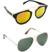 Hrinkar Aviator Sunglasses(Golden, Green)