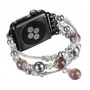 Agate Beads Pearl Watch Bracelet Strap for Apple Watch Series 4 40mm/3/2/1 38mm - Brown