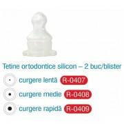 Tetine ortodontice silicon curgere medie 2 buc (R0408)