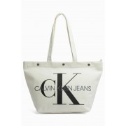 Calvin Klein bílá taška Bottom Tote Monogram Bright White
