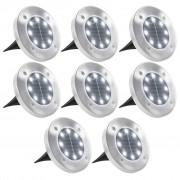 vidaXL Solárne pozemné svetlá, 8 ks, biele LED svetlo
