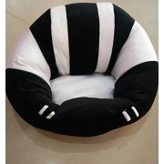 CLICK4DEAL Baby Boy's and Girl's Cotton Soft Plush Cushion Sofa Seat Safety Car Chair Learn to Sit Training Support Sitting Stool (Black and White)