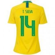 Nike Camisa da Seleção Brasileira I 2018 Nike nº 14 Tiago Silva - Feminina - Amarelo/Verde