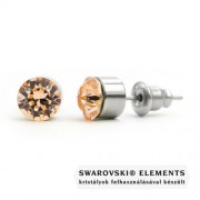 Jazzy barack színű Swarovski® kristályos fülbevaló - Kerek foglalatos - Light Peach