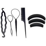 gulzar Hair Accessories Topsy Tail Braid Ponytail Hair Bun Maker DIY kit and Hair Puff Volumizer Banana Bumpit- 7 Pc Com