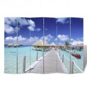 vidaXL Room Divider Print 240 x 180 Beach
