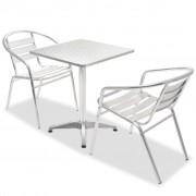 vidaXL Set bistro 3 piese, masă pătrată și scaune stivuibile, aluminiu