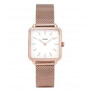 CLUSE Horloges La Tetragone Mesh Rose Gold Plated Wit