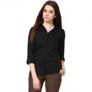 Smart and Glam Shirt for Women 3/4 Sleevs Solid Black XS