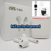 cuffie airpods bluetooth 4.2 i9s 2018 apple ios e android wireless +kit 3 in1