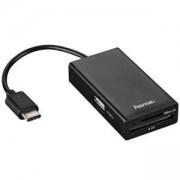 Четец за карти HAMA 54144, USB 2.0 Type-C хъб за телефон,лаптопи,таблети, Черен, HAMA-54144