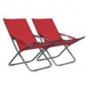 vidaXL Scaune de plajă pliante, 2 buc., roșu, material textil