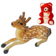 Worthyy Collections Big Forest Deer with Small Red Teddy Bear, Plush Fabric Soft Toy, White-Beige Color, Size 9 inches, (Pack of 2)