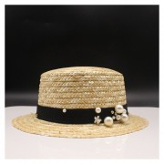niñas lindo verano Bowknot paja sol Boho playa plana Trilbyde Sombrero LANG(#Negro)(#size 48-52cm)