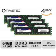Timetec SUPERMICRO 64GB Kit (4x16GB) DDR3 1866MHz PC3-14900 Registered ECC 1.5V CL13 2Rx4 Dual Rank 240 Pin RDIMM Server Memory RAM Module Upgrade (64