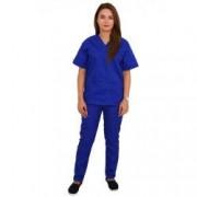 Costum medical dama cu anchior in forma V cu trei buzunare aplicate albastru XS INTL