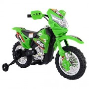 Green Kids Ride On 6V Battery Powered Electric Motorcycle With Training Wheel