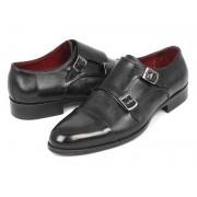 Paul Parkman Cap Toe Double Monk Strap Shoes Grey & Black 0457-GRY