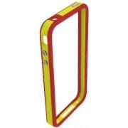 Husa Blautel BLTBUFPES Bumper cu folie protectie pentru iPhone 4/4S (Rosu/Galben)