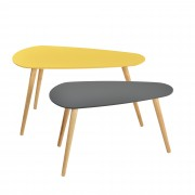 [en.casa]® Set de 2 mesas de centro - gris y mostaza - patas de madera maciza de haya - mesa auxiliar de madera