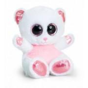 Ursulet de plus Animotsu alb cu roz 15 cm