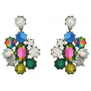 Marc Jacobs Multi-Stone and Pearl Clip Drop Earrings Multicolor
