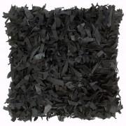 vidaXL Coussin shaggy Noir 60x60 cm Cuir et coton