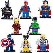 CUSTOM LEGO 8pcs/lot Super Heroes Avengers Building Blocks Batman Hulk Iron Man Lepine spiderman