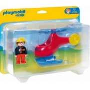 Elicopter de pompieri cu figurina pilot Playmobil