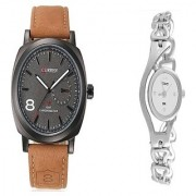 Curren Black Dail and Glory Silver Chain Couple Watches for Men and Women