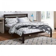 Costway Full Size Solid Wood Platform Bed with Wood Slat Support and Headboard