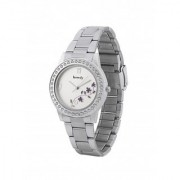 howdy Crystal Studded Analog White Dial Stainless Steel Chian Watch- for - Women's Girl's ss357