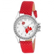 Lava Creation Stylish Red Flower Design With Round Dial Girls Wrist Watch For Women (315-Red )