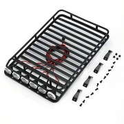 Cecileie Roof Rack Luggage Carrier with 6 White LED Light Bar for Jeep 1/10 RC Crawler Truck D90 Axial SCX10 90046 D110