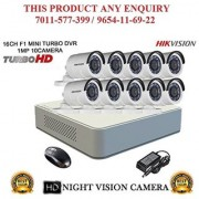HIKVISION 2 MP 16CH DS-7116HQHI-F1 MINI Turbo HD 720P DVR + HIKVISION DS-2CE16DOT-IR TURBO BULLET CAMERA 10pcs CCTV COMBO