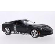 Chevrolet Corvette (C7) Stingray, Matt Black, Police, 2014, Model Car, Ready Made, Maisto 1:18