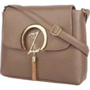 BEUNIQUES solid pu leather casual brown slings bag for women and girls Brown Sling Bag