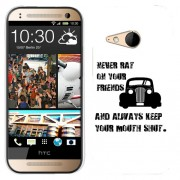 Husa HTC One Mini 2 M8 Mini Silicon Gel Tpu Model Never Rat On Your Friends B&W